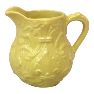 1920s French Country Yellow Majolica Creamer For Sale
