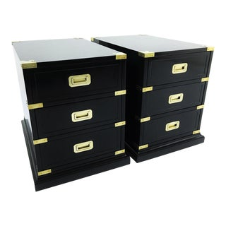 Campaign Style Black Lacquered and Brass End/Side Tables - A Pair For Sale