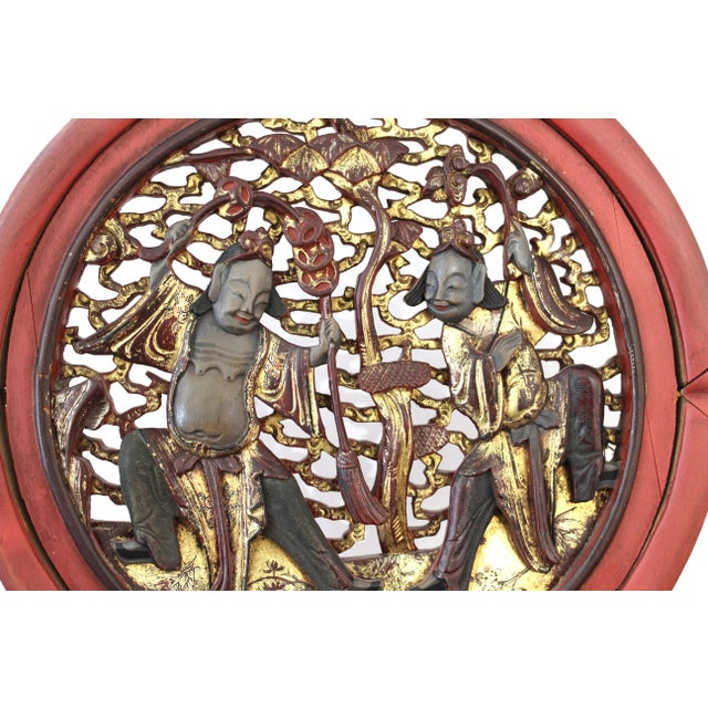 Red Asian Modern Lacquer Screen Element Mounted on Stand Attributed to Karl Springer For Sale - Image 8 of 13