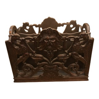 Antique Carved Ornate Northwind Canterbury Magazine Rack For Sale