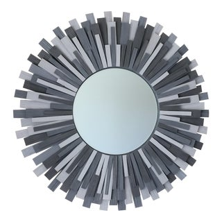 Handmade Shades of Grey Wood Sunburst Wall Mirror For Sale