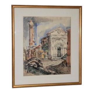 1950s European Street Scene Original Watercolor Painting by Riva Helfond For Sale