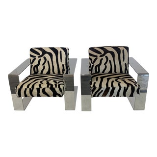 1990s Zebra Print Cowhide Chairs- A Pair For Sale