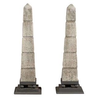 Vintage French Marble Obelisks - A Pair