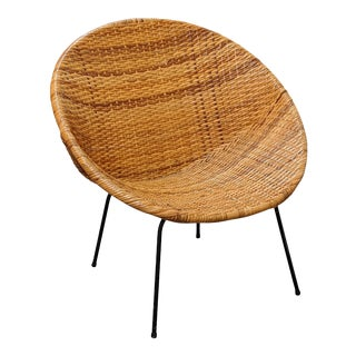 Mid Century Modern Wicker Hoop Chair For Sale