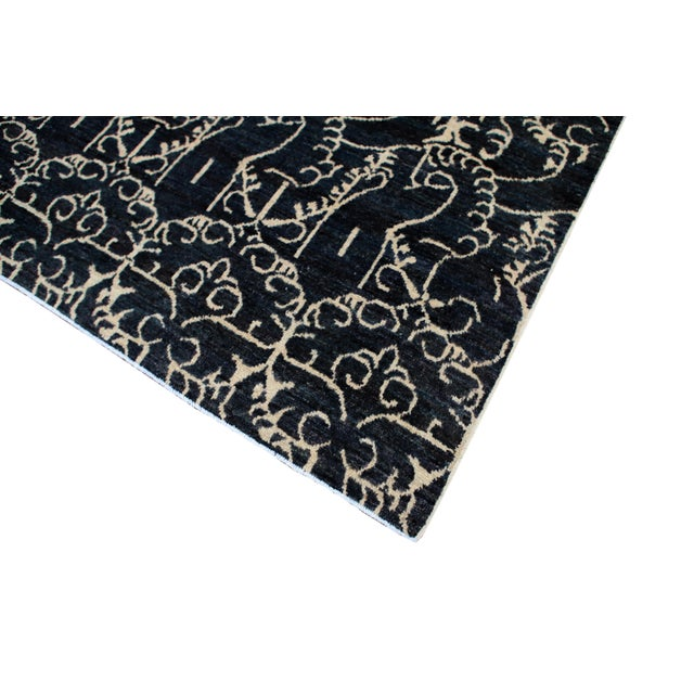 """Transitional Afghan Navy Rug-10'2'x13'4"""" For Sale - Image 3 of 5"""