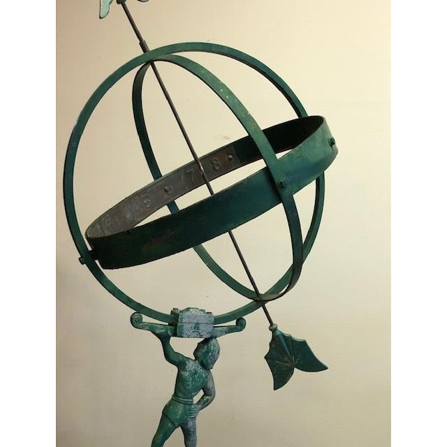 Forest Green 1940 the Archer Swedish Armillary/Sundial on Wood Base For Sale - Image 8 of 9