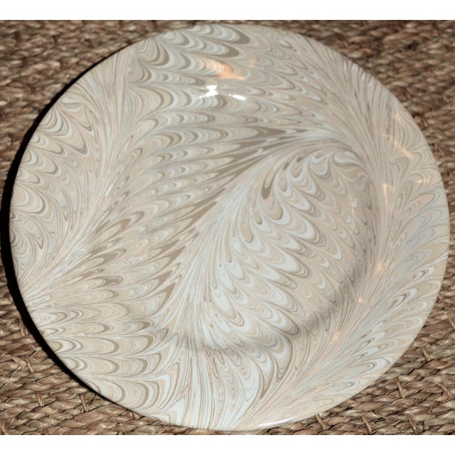 Brown Firenze Marbleized Ceramic Cocktail Plates - Set of 4 For Sale - Image 4 of 6