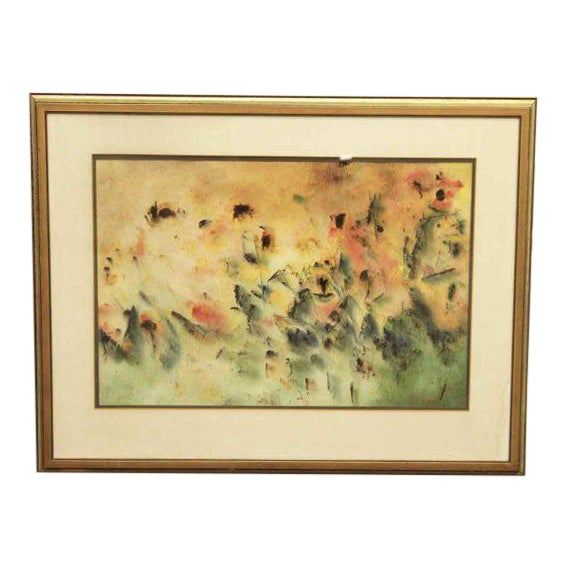 Schlect Water Color Painting on Rice Paper For Sale