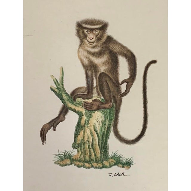 This is a set of four paintings on silk depicting monkeys with fruit commissioned and distributed by Chelsea House. They...