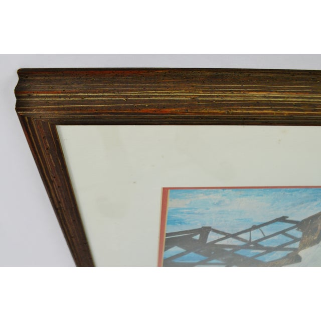 "Vintage 1940's Framed Print of Ben Shahn's ""The Red Stairway"" For Sale In Philadelphia - Image 6 of 8"