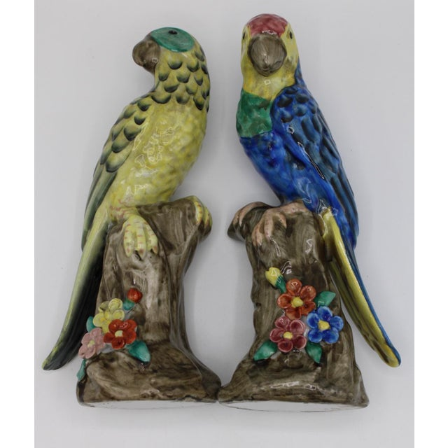Blue and Green Ceramic Parrot Bird Figurines - a Pair For Sale - Image 11 of 12