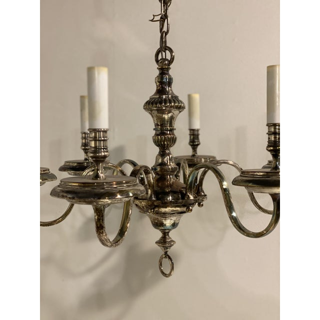 American 1920's Caldwell Six Light Silver Plated Chandelier For Sale - Image 3 of 9