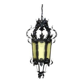Black Wrought Iron Lantern with Textured Amber Glass For Sale