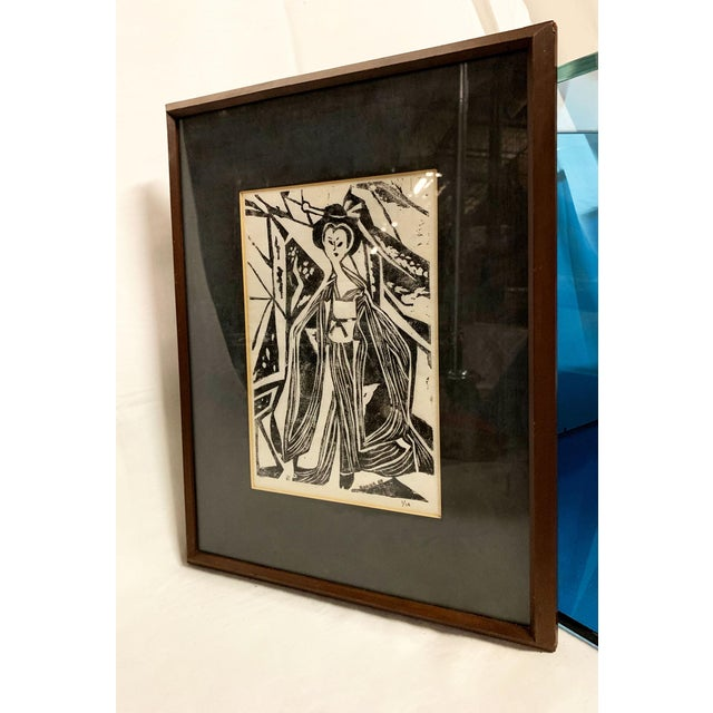 """Black and white mid century modern print of a Geisha. Signed """"Donna '69 - 1/10"""""""