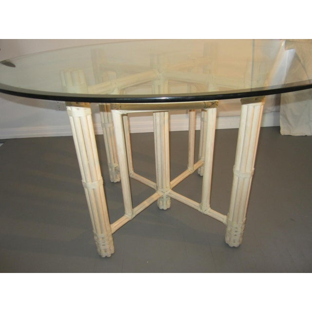 Boho Chic McGuire Vintage Hollywood Regency Bamboo Dining Set For Sale - Image 3 of 13