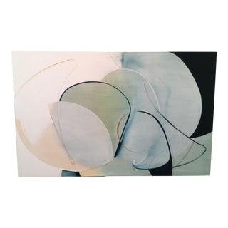 "Rose Umerlik ""Change in Direction"" Abstract Oil and Graphite Painting on Panel in Blue, Off White, Taupe For Sale"