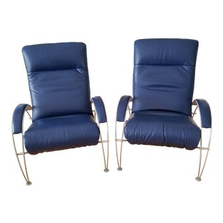 Lafer Billie Blue Leather Ergonomic Recliner - Two Available For Sale