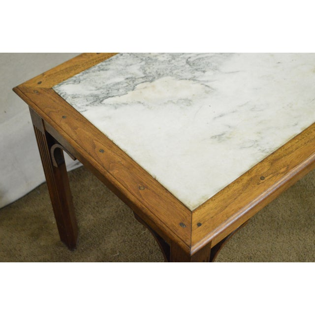Chippendale Style Custom Walnut Marble Top Side Table For Sale - Image 10 of 11