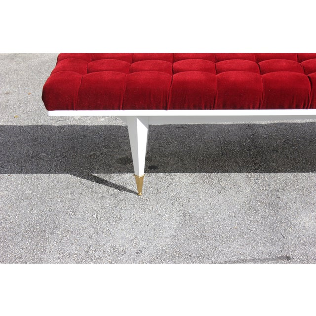 Red French Art Deco Snow White Lacquered Long Sitting Bench, circa 1940s For Sale - Image 8 of 11