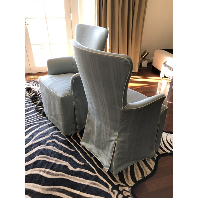Blue Nancy Corzine Linen Hostess Chairs- A Pair For Sale - Image 8 of 8