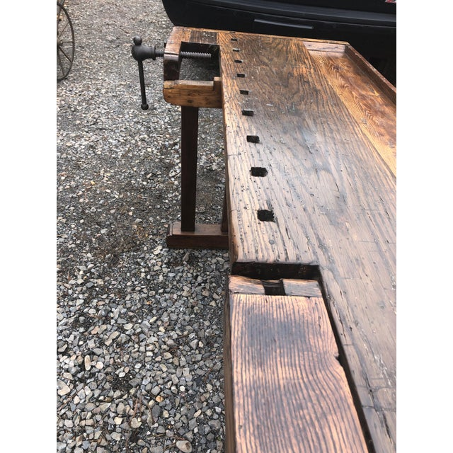 Wood Vintage Hand Made Vermont Large Oak Work Table Console Bar For Sale - Image 7 of 13