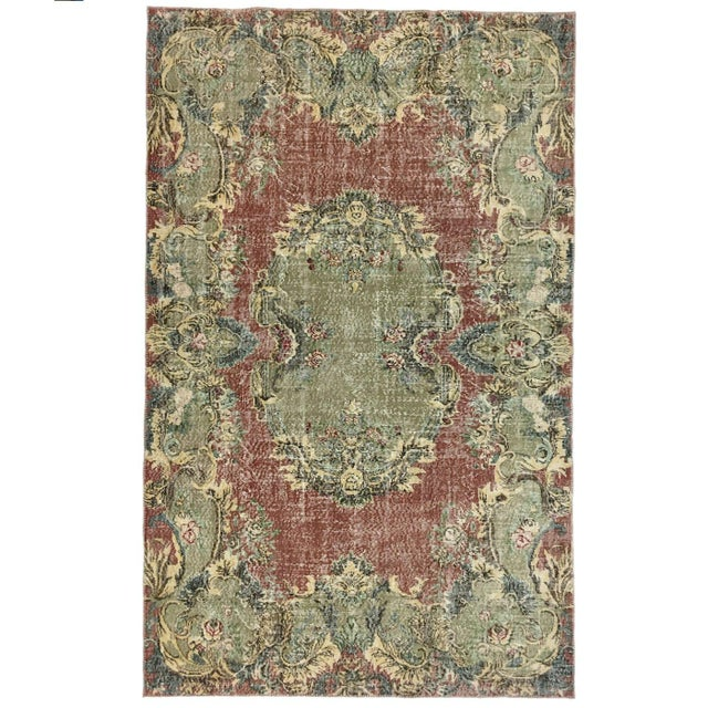 Rug & Relic, Inc. Art Deco Pink and Green Turkish Rug For Sale - Image 4 of 4
