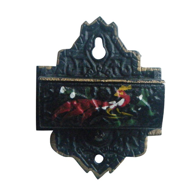 Vintage Cast Iron Match Safe With Rooster Design - Image 1 of 4