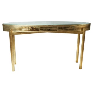 Gold Leaf Italian Oval Console For Sale