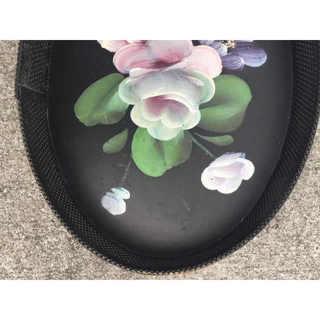 Small Hand-Painted Tole Tray Mesh Sides Floral For Sale - Image 4 of 10