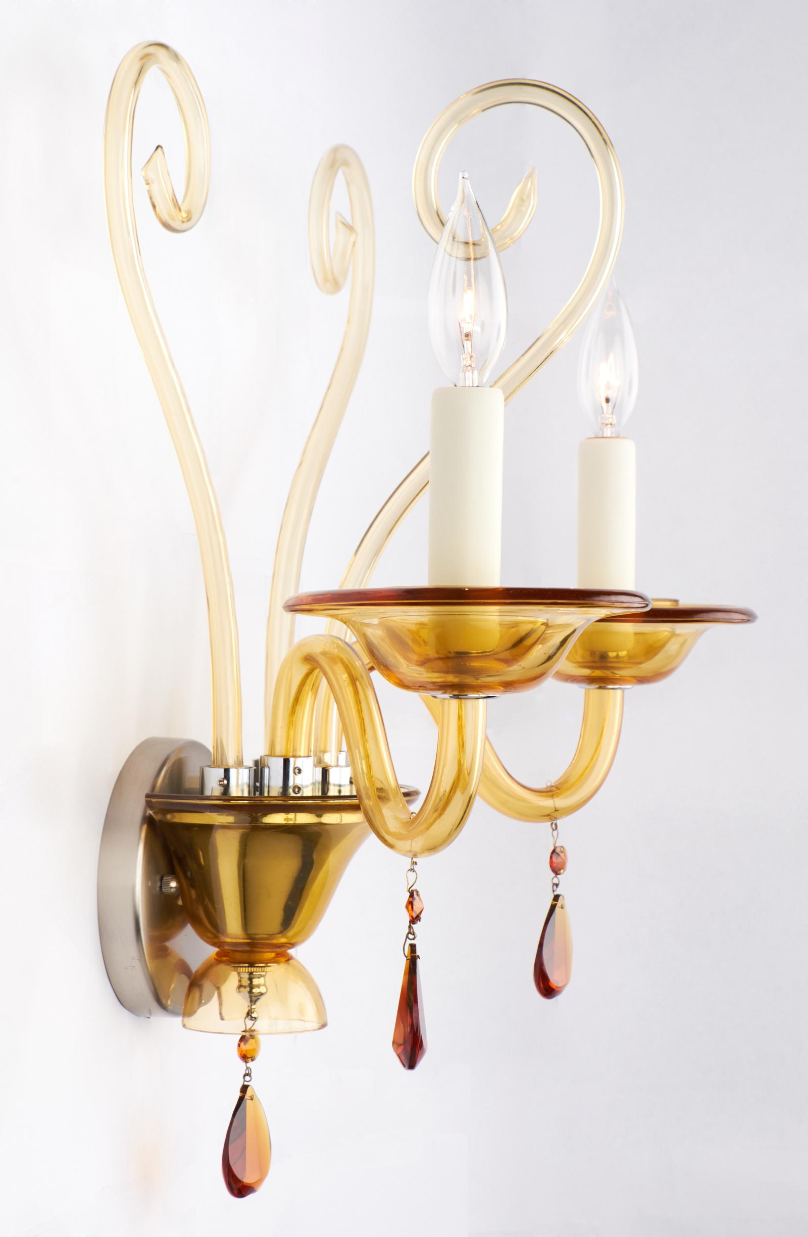 Vintage Murano Amber Glass Wall Sconce   Image 5 Of 10