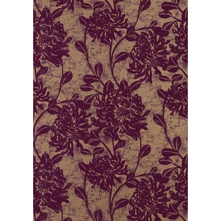 "Thibaut ""Mums"" Wallpaper in Plum and Bronze For Sale"
