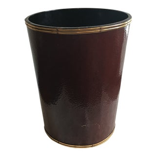 Brown Leather Waste Basket With Brass Details For Sale