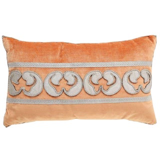 Modern Velvet Pillow With Antique Metallic Accents For Sale
