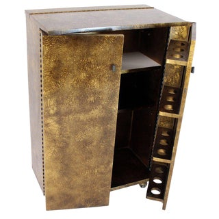 Gold Splatter Tortoise Shell Finish Bar Liquor Cabinet on Wheels For Sale