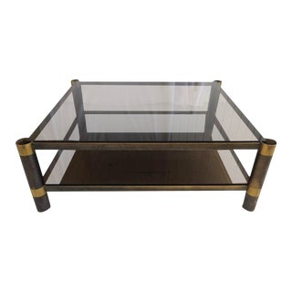Karl Springer Two-Tiered Smoked Glass Coffee Table For Sale