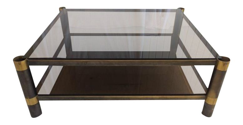 Karl Springer Two Tiered Smoked Glass Coffee Table For Sale