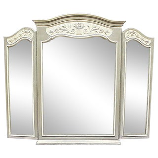 Large Triptych French Country Style Mirror For Sale
