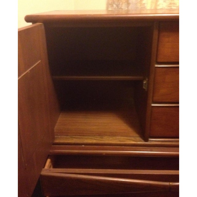 Bassett Mid Century Modern -All 3 Pieces-Triple Dresser W Mirror and Chest on Chest in Bow Tie Style - Image 3 of 9