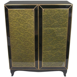 1970s Italian Brass & Black Glass Cabinet With Green Lace Inlays For Sale