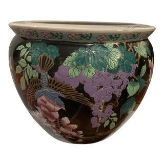 Chinoiserie Asian Hand-Painted Porcelain Cache Pot Fish Bowl For Sale