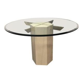 1970s Minimalistic Artedi Round Glass and Travertine Dessert Table