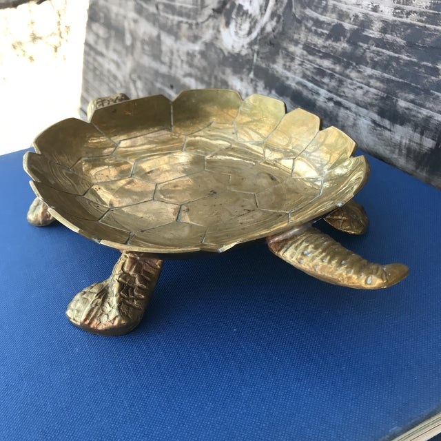 Brass Large Vintage Solid Brass Turtle Catchall Tray Trinket Dish For Sale - Image 7 of 10