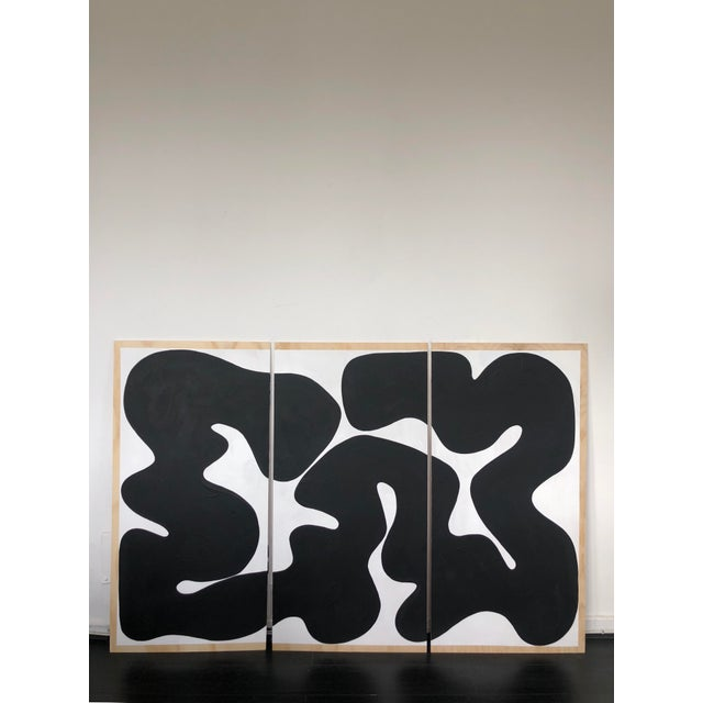 Black and White Run on Abstract Triptych Painting For Sale - Image 9 of 9