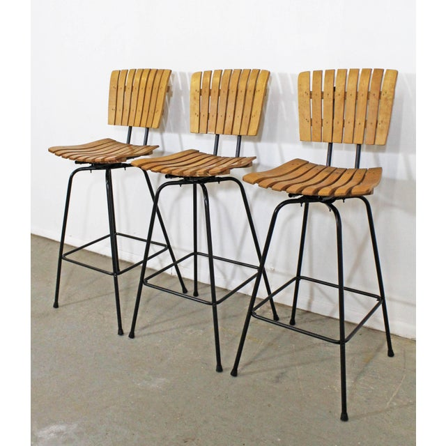 Danish Modern Set of 3 Mid-Century Danish Modern Arthur Umanoff Style Swivel Slat Bar Stools For Sale - Image 3 of 11