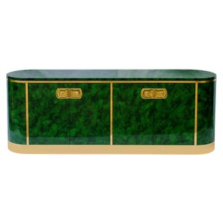 1970s Mastercraft Malachite Lacquer Credenza For Sale