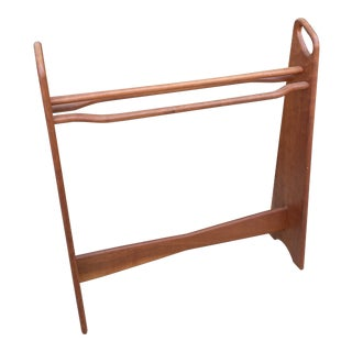 1970s Mid-Century Cherry Wood Quilt or Blanket Rack For Sale