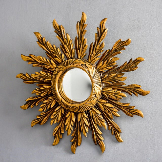 Gold Double Layer Giltwood Sunburst Mirror For Sale - Image 8 of 11