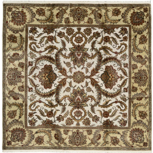 Traditional Hand Woven Wool Square Rug 9'2 X 9'2 For Sale - Image 4 of 4