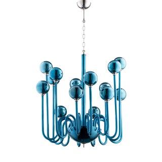 Mid-Century Modern Cyan Co. Blue Glass Chandelier
